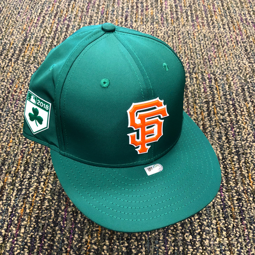 Photo of 2018 San Francisco Giants - 2018 St. Patrick's Day Game Used Cap used by #16 Jose Alguacil