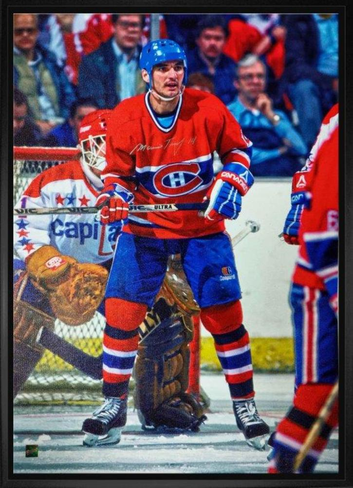 Mario Tremblay Signed 20x29 Canvas Framed - Canadiens Red Action vs Capitals