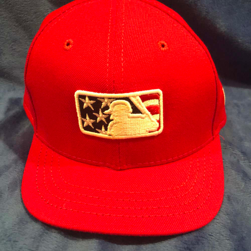 Photo of UMPS CARE AUCTION: MLB Specialty Stars and Stripes Umpire Plate Cap, Red, Size 7 1/8