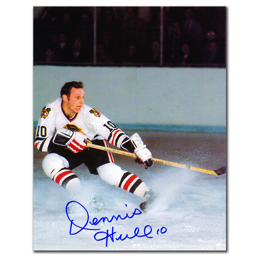 Dennis Hull Chicago Blackhawks WHITE JERSEY Autographed 8x10