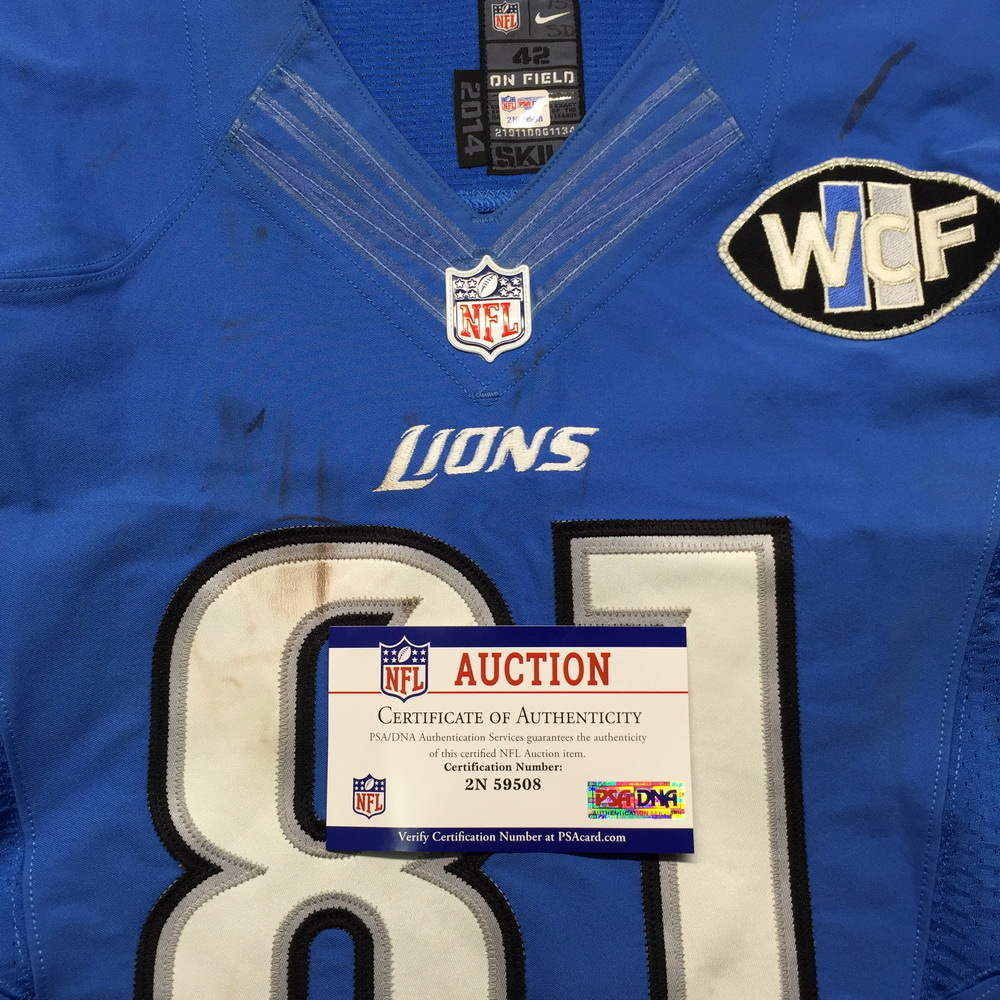 NFL Auction   NFL - Lions Calvin Johnson Game Used Jersey Week One ...