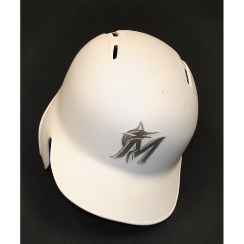 "Photo of Adam ""ACON"" Conley Miami Marlins Team-Issued 2019 Players' Weekend Helmet"