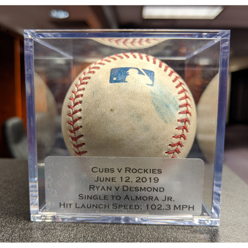 Photo of Colorado Rockies Game-Used Baseball - Pitcher: Kyle Ryan, Batter: Ian Desmond (Single to Almora Jr.) - June 12, 2019 vs Chicago Cubs