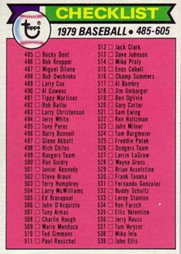 Photo of 1979 Topps #602 Checklist 485-605