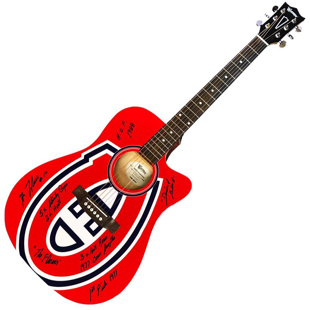 Guy Lafleur Autographed Montreal Canadiens Woodrow Guitar w/Multiple Inscriptions