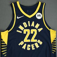 TJ Leaf - Indiana Pacers - Game-Worn Icon Edition Jersey - NBA India Games - Dressed, Did Not Play - 2019-20 NBA Season