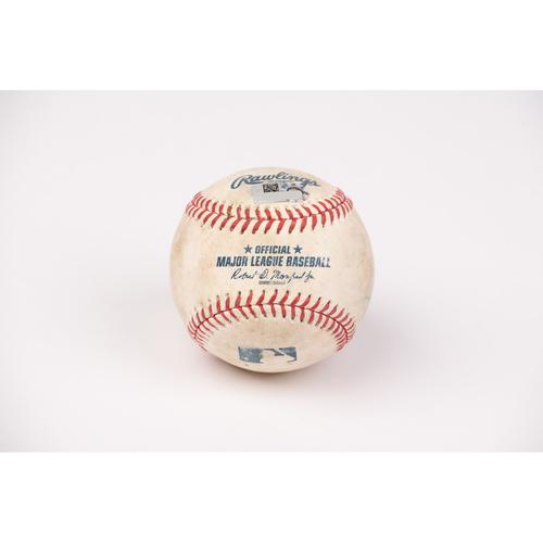 Photo of Game Used Baseball: Pitcher: Jacob Barnes, Batters: Pablo Sandoval (Strike Out), Brandon Crawford (2-RBI Double) - Top 5 -  8-18-2020 vs. SF