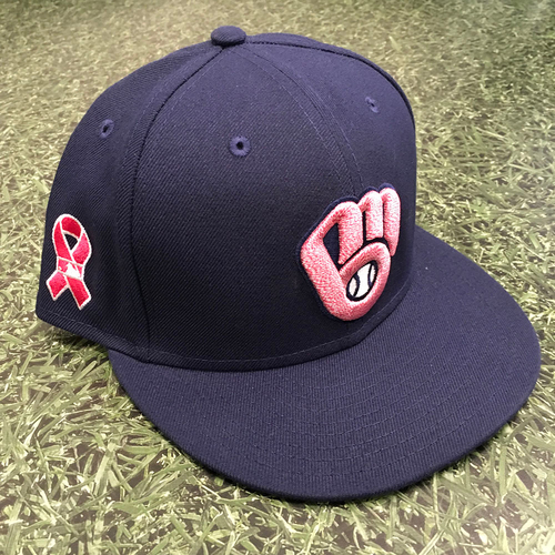 Photo of Brett Anderson 05/09/21 Game-Used Mother's Day Cap - 3.0 IP, 2 H, 0 R, 1 BB, 3 SO