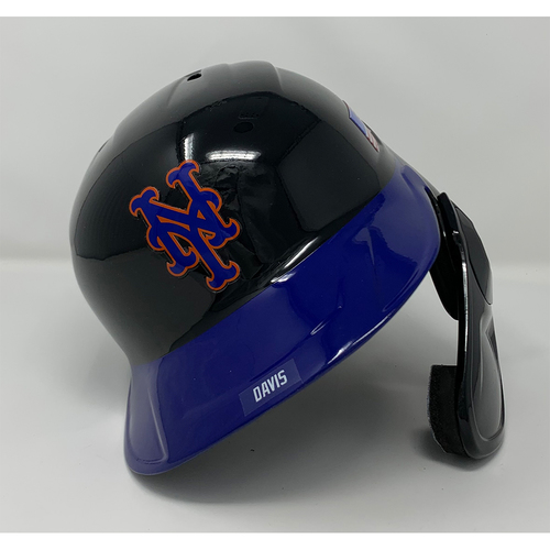 Photo of J.D. Davis #28 - Game Used Batting Helmet with American Flag Decal - 20th Anniversary Ceremony of 9/11/2001 - Pinch Hit Double in the 9th - Mets vs. Yankees - 9/11/21