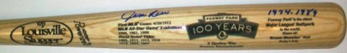 Jim Rice Fenway 100th Anniversary Autographed Engraved Game Model Louisville Slugger Blonde Bat Inscribed with