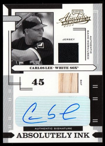 Photo of 2004 Absolute Memorabilia Absolutely Ink Combo Material #28 C.Lee Bat-Jsy/100