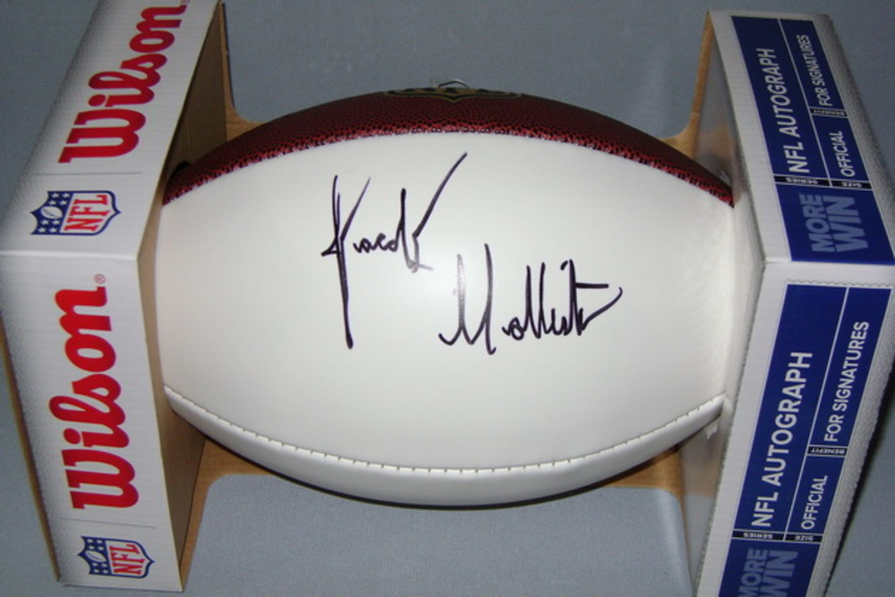 NFL- PATRIOTS JACOB HOLLISTER SIGNED PANEL BALL