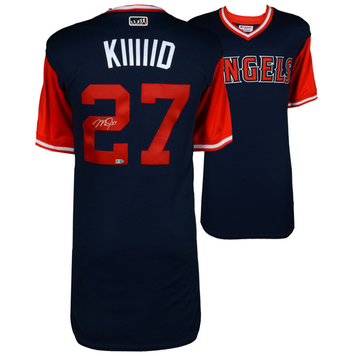 "Photo of Mike Trout Los Angeles Angels Autographed Majestic Authentic ""KIIIID"" Players Weekend Jersey"
