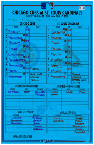 Photo of Game-Used Lineup Card -- Father's Day 2018 -- Cubs at Cardinals -- 6/17/18