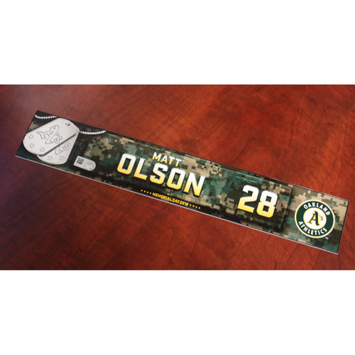 Photo of Matt Olson 2018 Team Issued Memorial Day Locker Nameplate