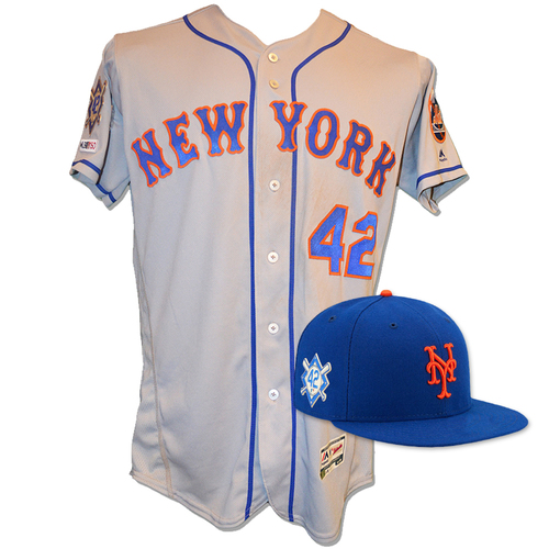 Photo of Jeff McNeil - Game Used Road Grey Jackie Robinson #42 Jersey and Hat - McNeil Goes 3-5 with a RBI - Mets vs. Phillies - 4/15/19