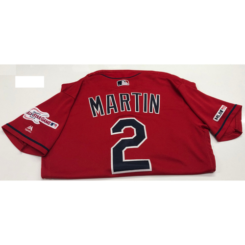 Photo of Leonys Martin Game Used 2019 Opening Day New Home Alternate (Red) Jersey