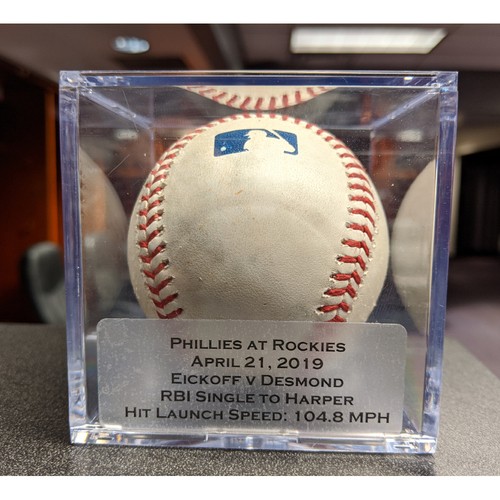 Photo of Colorado Rockies Game-Used Baseball - Pitcher: Jerad Eickhoff, Batter: Ian Desmond (Single to Harper, Story Scores) - April 21, 2019 vs Philadelphia Phillies