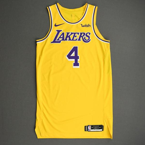 Image of Alex Caruso - Los Angeles Lakers - NBA China Games - Game-Worn Icon Edition Jersey - 2019-20 NBA Season