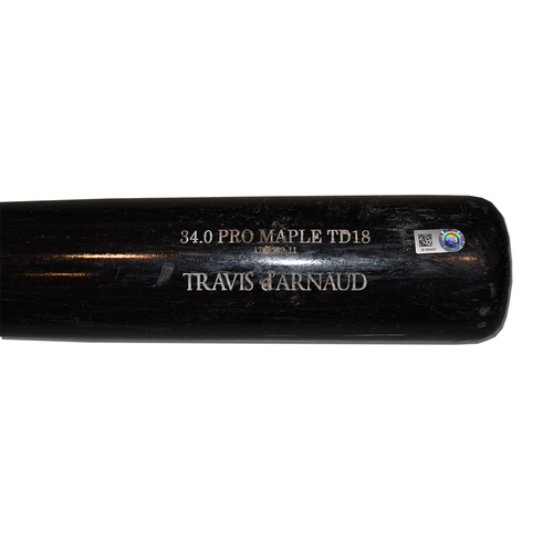 Travis d'Arnaud #18 - Team Issued Full Bat - Black Old Hickory Model - 2017 Season