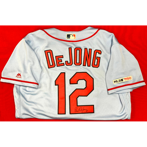 Photo of Paul DeJong Autographed Team Issued Road Alternate Jersey (Size 44)