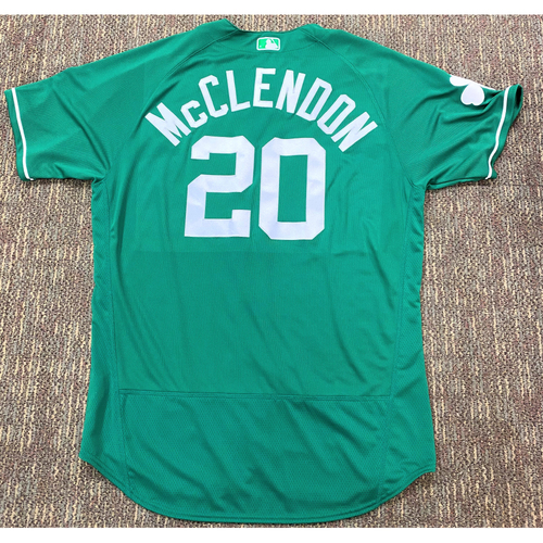 Photo of Lloyd McClendon #20 Detroit Tigers Team-Issued 2019 St. Patrick's Day Jersey (MLB AUTHENTICATED)