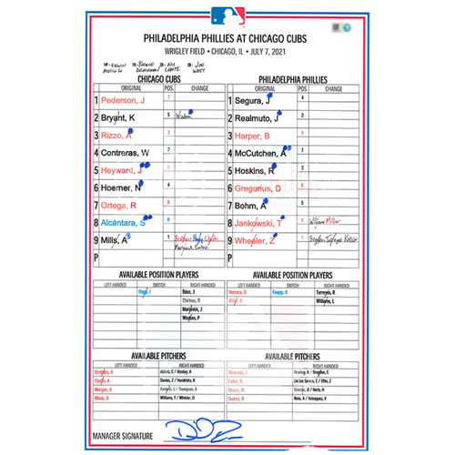 Photo of Game-Used Lineup Card -- Mills 4th Win (5.2 IP, 3 ER, 5 K) -- Phillies vs. Cubs -- 7/7/21