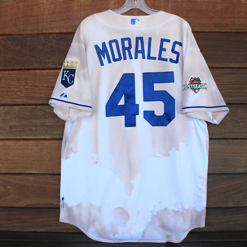 Photo of Game-Used 2015 ALCS Jersey: Franklin Morales #45 (TOR@KC 10/23/15 ALCS Game 6) - Size 50
