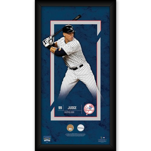 Photo of Aaron Judge Framed 10x20 with Game Used Yankee Stadium Dirt and Uniform Swatch