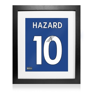Photo of L/E #10 Eden Hazard Signed Chelsea Shirt Print In Black Wooden Frame: 'Hazard...