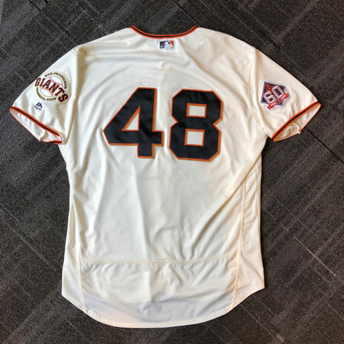 Photo of San Francisco Giants - 2018 Game-Used Jersey worn by #48 Pablo Sandoval - Authenticated for Pitching Debut and 1 HOME RUN! . Jersey Size - 52