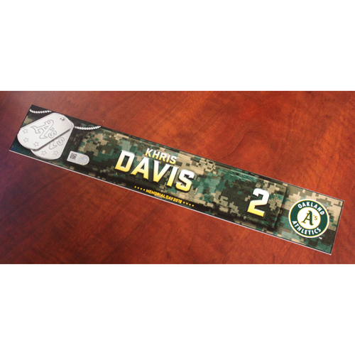 Photo of Khris Davis 2018 Team Issued Memorial Day Locker Nameplate