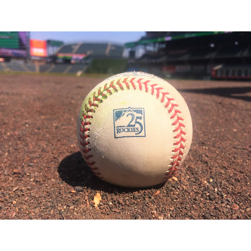Photo of Colorado Rockies Game-Used Baseball - Ottavino v. Kemp - Sac Fly to Blackmon. Puig Scores - August 12, 2018