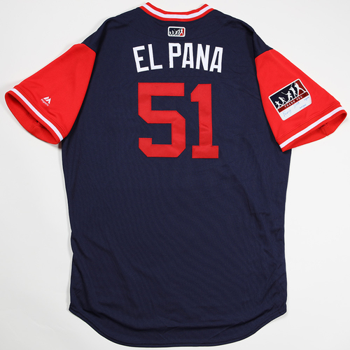 "Photo of Jaime ""El Pana"" Barria Los Angeles Angels Game-Used 2018 Players' Weekend Jersey"