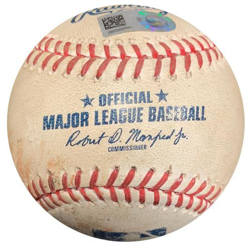 Photo of Game-Used Baseball from Pirates vs. Marlins on 6/8/17 - Christian Yelich Single