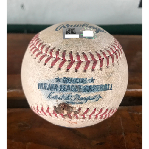 Photo of Cardinals Authentics: Game-Used Ball Pitched by John Gant to Lorenzo Cain, and Christian Yelich *Single, Foul*