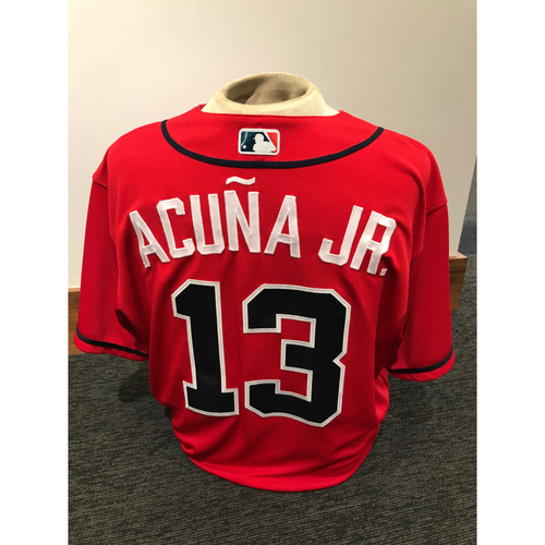 Photo of Ronald Acuna Jr. 2019 Atlanta Braves Game-Used Los Bravos Day Jersey