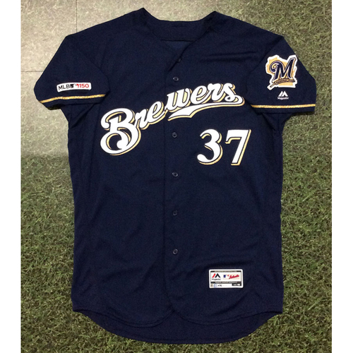Photo of Adrian Houser 2019 Game-Used Navy Alternate Jersey