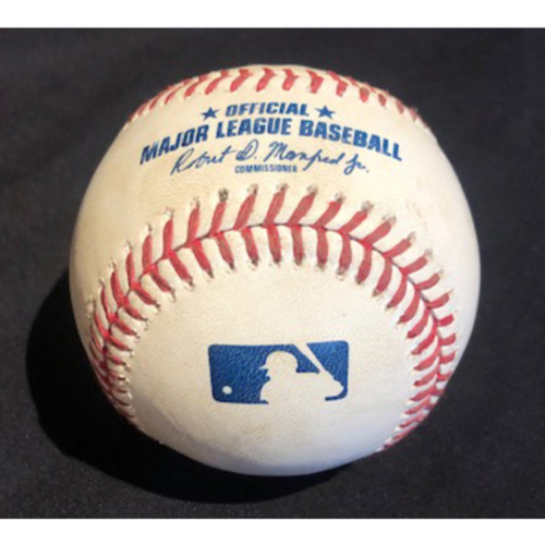 Photo of Game-Used Baseball -- Drew Rasmussen to Mike Moustakas (Home Run - 6; 97.2 MPH Fastball) -- Bottom 8 -- Brewers vs. Reds on 9/21/20 -- Moustakas Final HR of 2020 at GABP