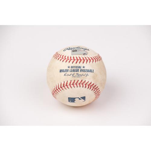 Photo of Game Used Baseball: Pitcher: Jaime Barria, Batter: J.P. Crawford - Double - Top 3 - 8-31-2020 vs. SEA