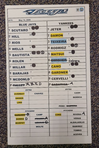 Photo of Authenticated Team Issued Lineup Card (May 14, 2009 vs NYY): Mariano Rivera's 7th Save of the Season