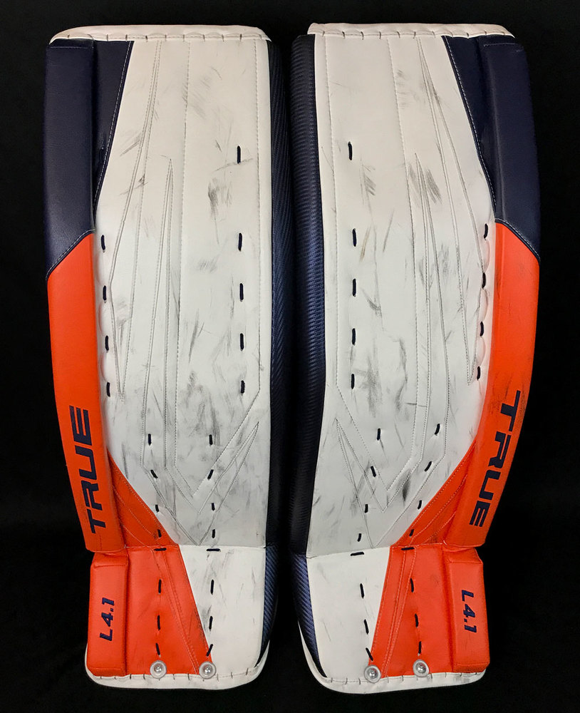 Mike Smith #41 - Autographed 2020-21 Edmonton Oilers Game-Worn TRUE Goalie Pads - Photo-matched To NHL Play-offs Game Action