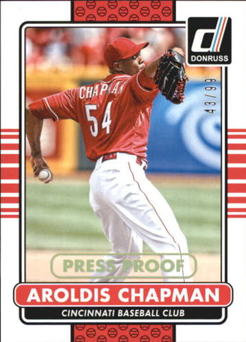 Photo of 2015 Donruss Press Proofs Gold #76 Aroldis Chapman