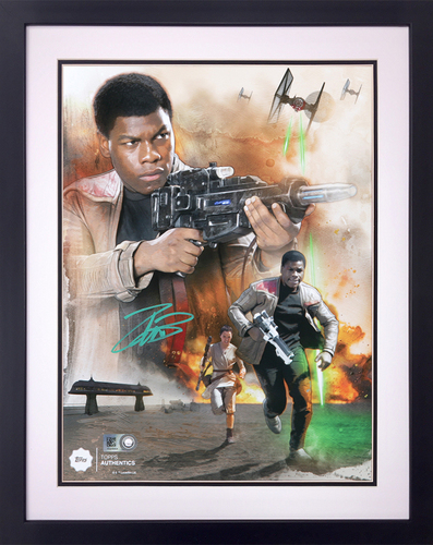 John Boyega as Resistance Hero Finn Autographed in Green Ink 8x10 Framed Photo Collage