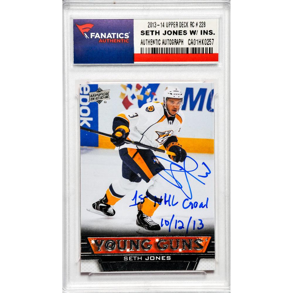 Seth Jones Nashville Predators Autographed 2013-14 Upper Deck Young Guns Rookie #228 Card with 1st NHL Goal 10/12/13