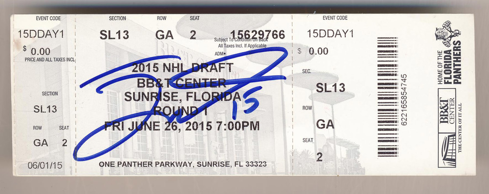 Jack Eichel Buffalo Sabres Autographed Original 2015 NHL Draft Day Ticket *BB&T Center, Sunrise Florida* *2nd Overall*