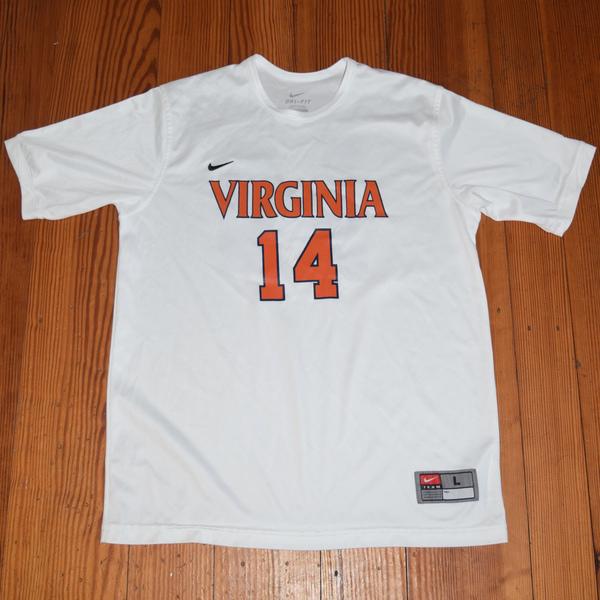 Photo of Game-Worn University of Virginia Women's Soccer Jersey: White #14