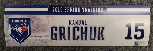 Photo of Authenticated Game Used Locker Tag - #15 Randal Grichuk (2019 Spring Training in Montreal)