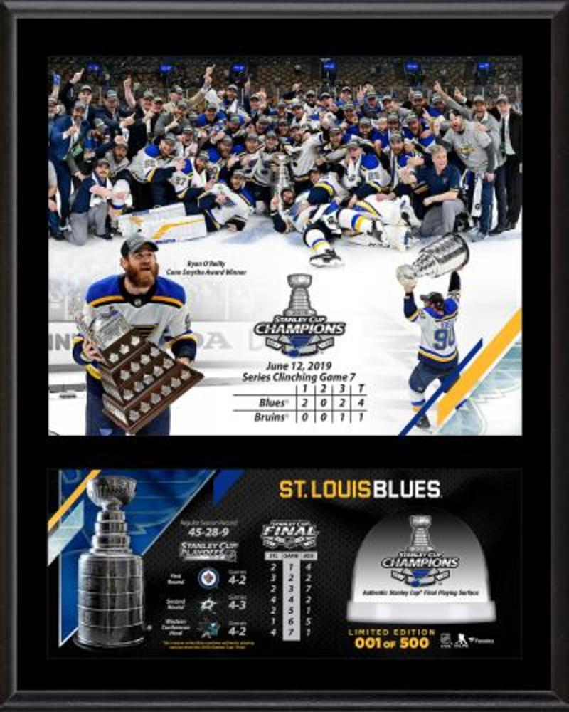 St. Louis Blues 2019 Stanley Cup Champions 12'' x 15'' Sublimated Plaque Second Edition with Game-Used Ice from the 2019 Stanley Cup Final - #1 of a Limited Edition of 500