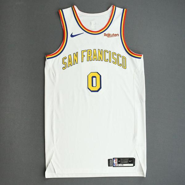 Image of D'Angelo Russell - Golden State Warriors - Game-Worn Classic Edition - 1962-63 San Francisco Home Jersey - Scored Team-High 30 Points - 2019-20 NBA...